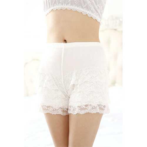 Plus Size Women Lace Modal Safety Bottom Underwear White