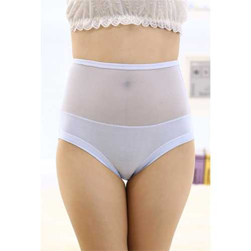 Sexy Women Underwear Seamless Lace Floral Panty Light Blue