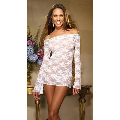 White Bell Sleeved Chemise with Removable Straps