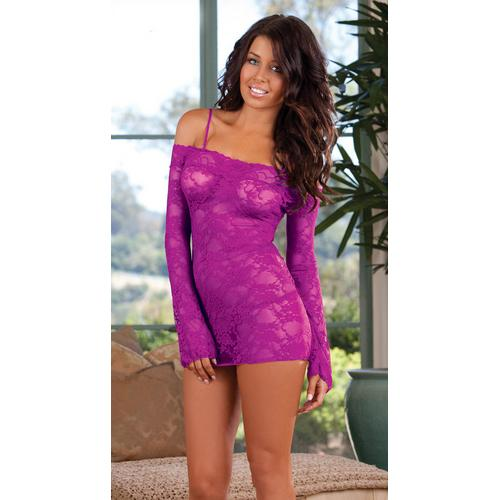 Purple  Bell Sleeved Chemise with Removable Straps