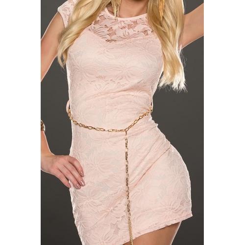 Sleeveless lace sexy mini dress in pink