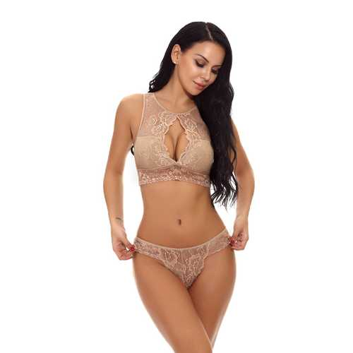 Wholesale  High Neck Lace Bra Set Brown