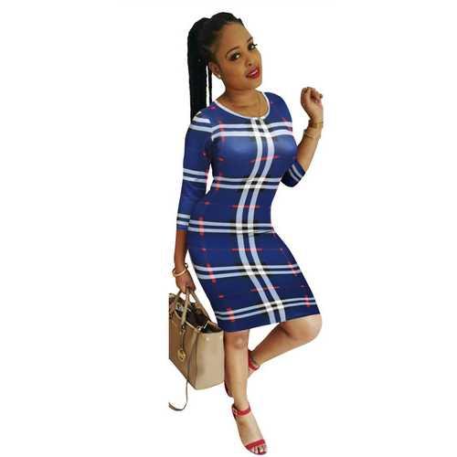 O-neck Long Sleeve Checkered Dress Sexy Women Bodycon Dress Blue