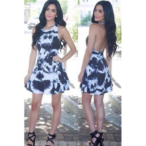 Deep V Neck Strap Sleeveless Backless Club Print Dress Black and White