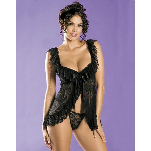 Black Beauty Floral Lace Babydoll