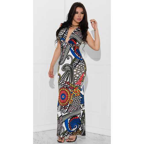 Uhnice Women Sexy Deep V-neck  Floral Maxi Dress