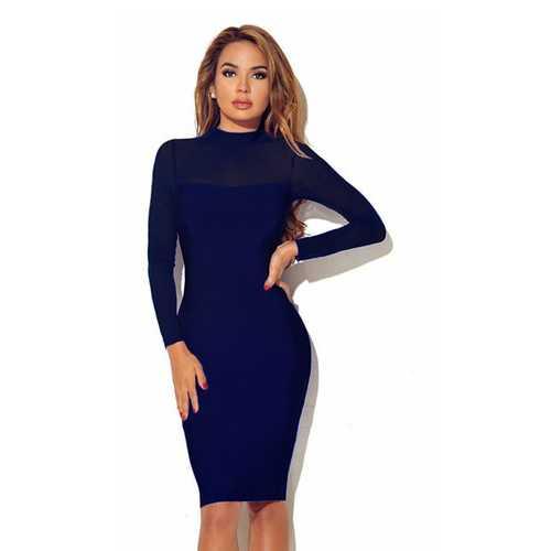 Women Long Sleeve Transparent Sleeve Bodycon Dress Dark Blue