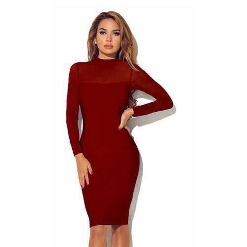 Women Long Sleeve Transparent Sleeve Bodycon Dress Red
