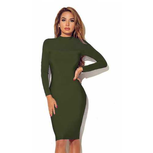 Women Long Sleeve Transparent Sleeve Bodycon Dress Army Green