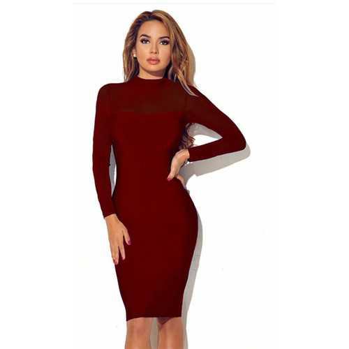 Women Long Sleeve Transparent Sleeve Bodycon Dress Wine Red