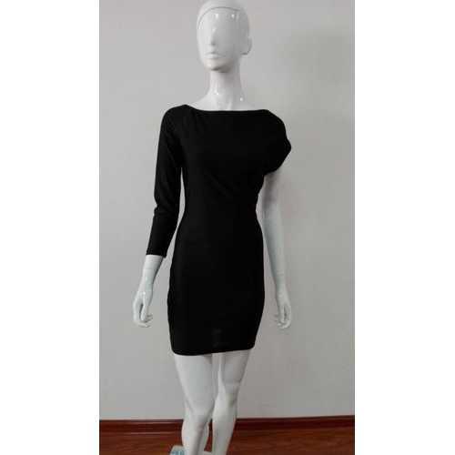 Black One Sleeve Midi Dress
