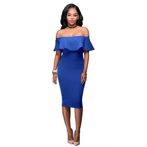 Women Ruffle Slash Neck Sexy Off Shoulder Bodycon Midi Dress Blue