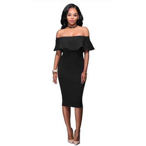 Women Ruffle Slash Neck Sexy Off Shoulder Bodycon Midi Dress Black