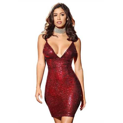 2017 Womens Sexy Sequins Cocktail V Neckline Mini Bodycon Bandage Party Dress Red