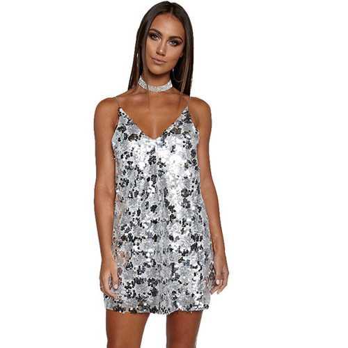 2017 Women's Sexy Deep V Neck Sequin Glitter Bodycon Party Dress Sliver