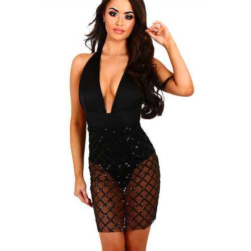 2017 Women's Deep V-neck Overlay Bodycon Party Formal Dress Black