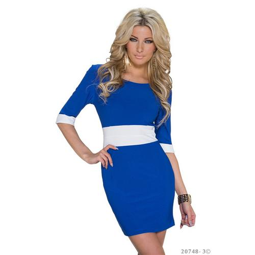 Vogue Half Sleeve Color Block Tight Mini Dress Clubwear Blue