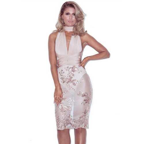 2017 Women Sexy V-neck Sequins Halter Backless Bodycon Midi Dress  Gold