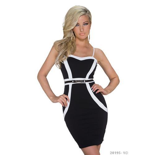Noble Monochrome Slimming Tube Dress Clubwear Black
