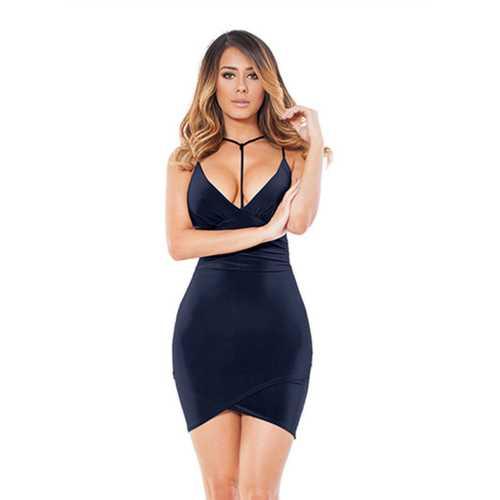 2017 Women's Sexy Strappy V-Neck Halter Backless Bodycon Party Dress Dark Blue