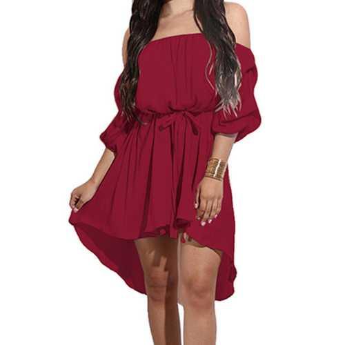 2017 Women's Off Shoulder Half Sleeve Ruffle Mini Dress Wine Red