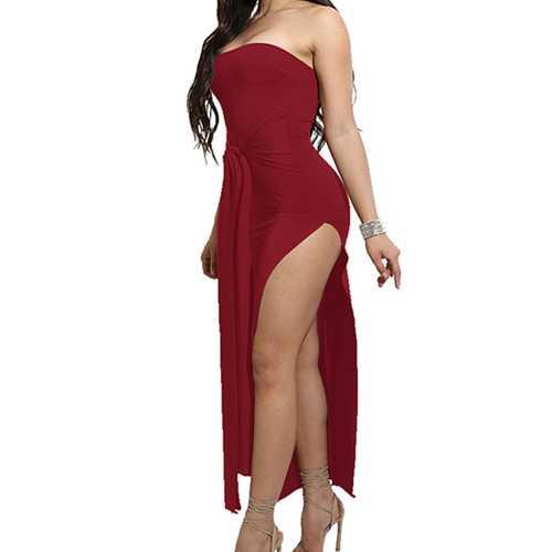 2017 Womens Off Shoulder Split Bodycon Dress Wine Red
