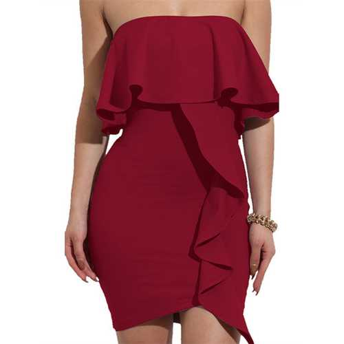 2017 Womens Sexy Off Shoulder Ruffles Wrapped Bodycon Party Mini Club Dress Wine Red