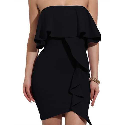 2017 Womens Sexy Off Shoulder Ruffles Wrapped Bodycon Party Mini Club Dress Black