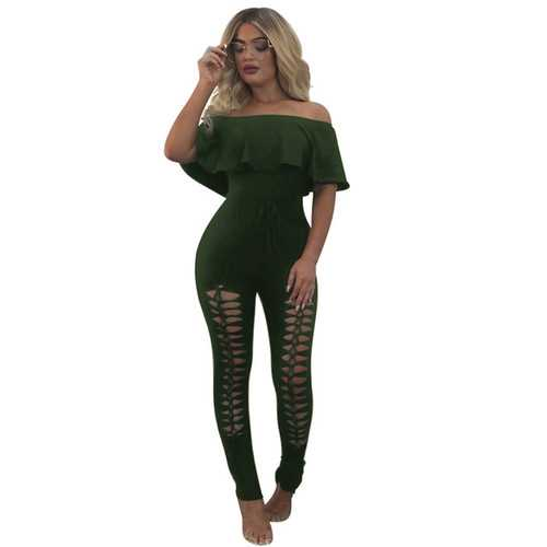 2017 Fashion Women Summer Strapless Ruffles Off-Shoulder With Holes Jumpsuits Without Belt Army Green