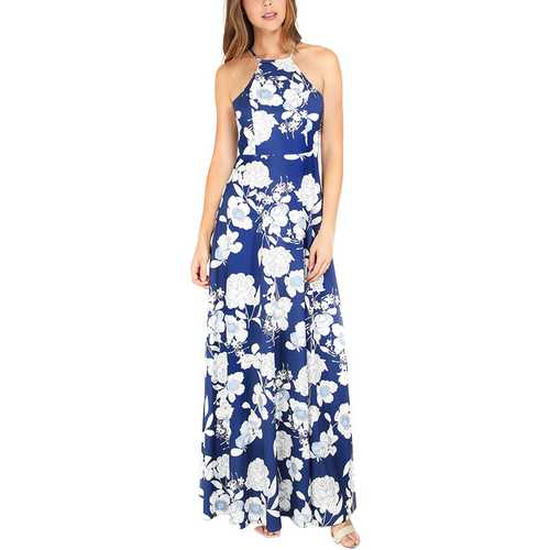 Sexy floral Print Backless Long Maxi Dress
