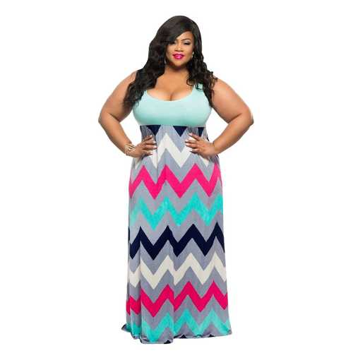 Plus Stripe Print Maxi Dress