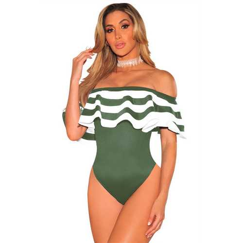 Women Army Green One Pieces Ruffles Striped Swimsuits