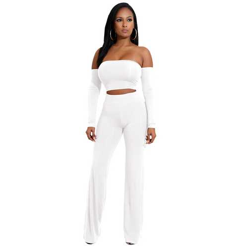 White Strapless Long Sleeve Strappy Two-piece Of Pantsuit