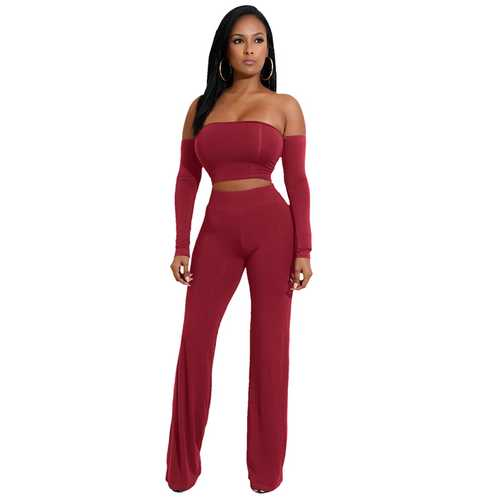 Wine Red Strapless Long Sleeve Strappy Two-piece Of Pantsuit