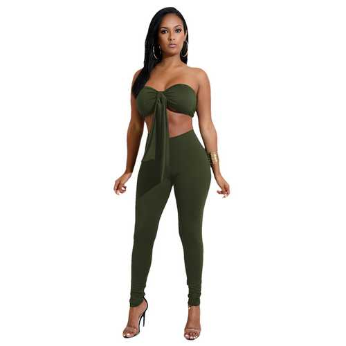 Army Green Strapless With A Cup Cover Two-piece Of Pantsuits