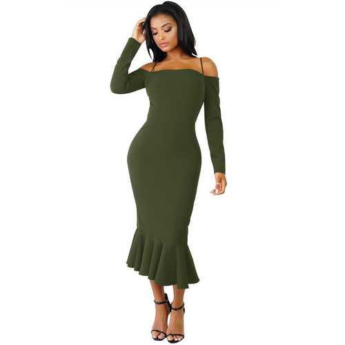 Army Green Off-shoulder Hammock Long Sleeve Mermaid Ruffle Dress