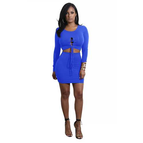 Bright Blue Solid Strappy Long Sleeve Two-piece Dress