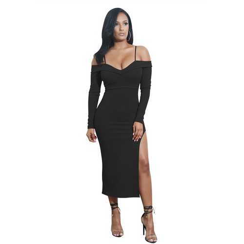 Cold Shoulder Long Sleeve Side Slit Dress