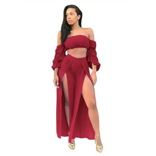 Wine Red Sexy Strapless Long Sleeve Slit Jumpsuit Two-piece Suit