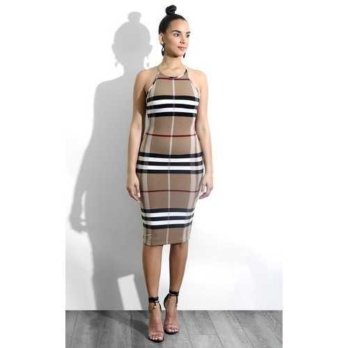 Plaid Style Sleeveless Bodycon Dress