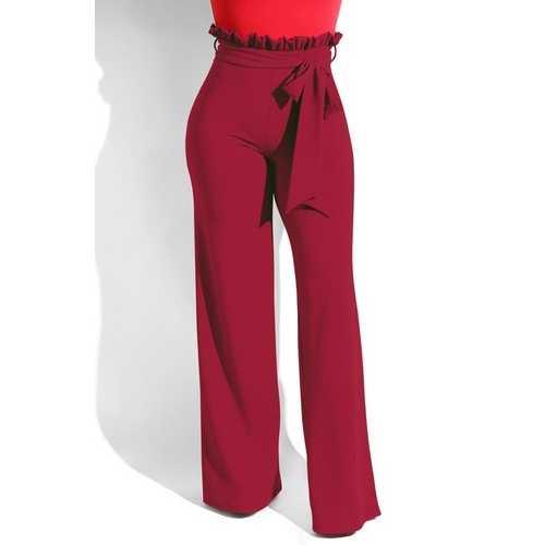 Women bow-knot high waist loosen trousers