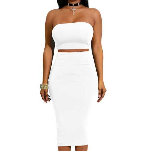Sexy Two Pieces Bodycon Dress With Strappy Back