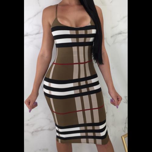 Women Sleeveless Low Collar Sexy Bodycon Dress