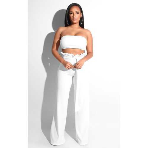 Women Sexy Exposed Navel Top Two-piece Suit White