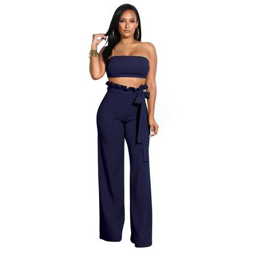 Top Wrapped Women Sexy Expose Navel Two Pieces Suit Dark Blue