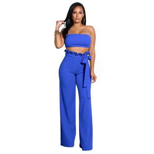 Top Wrapped Women Sexy Expose Navel Two Pieces Suit Blue