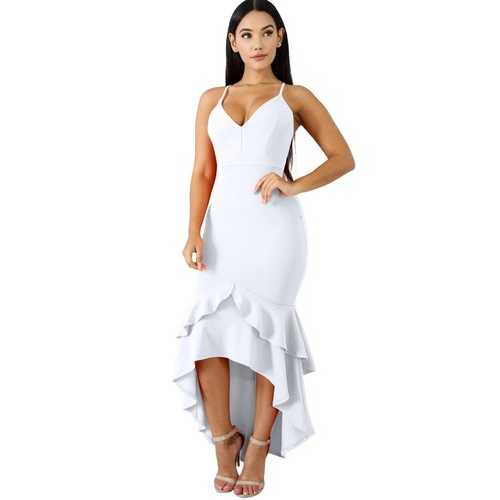 2018 Ruffle sleeveless sexy bodycon dress