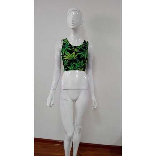 Stylish Leaves  Print Short Crop Top For Women Green