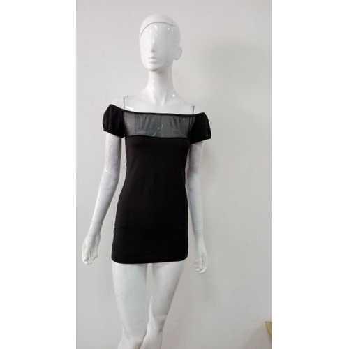 Slash Neck Women Dress Black