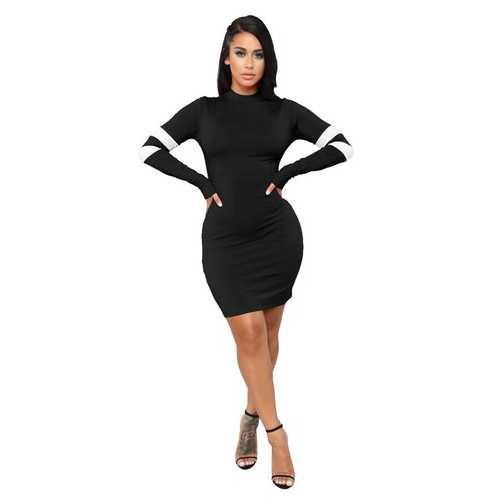 Black O-Neck Long Sleeve Sexy Bodycon Dress
